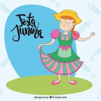 Adorável menina comemorando festa junina fundo