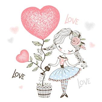 Adorável menina regando uma árvore sob a forma de um coração em uma ilustração de panela