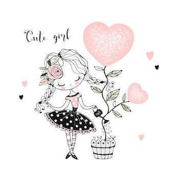 Adorável menina regando uma árvore sob a forma de um coração em uma panela.