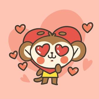Adorável menino macaco com fantasia de coração doodle ilustração