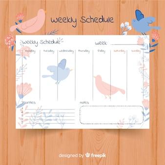Adorável modelo de agenda semanal com estilo colorido