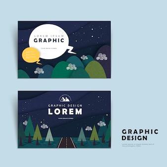 Adorável modelo de cartão de visita com montanhas ao redor