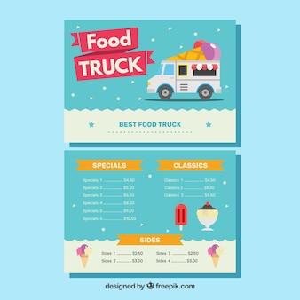 Adorável modelo de menu de caminhão de sorvete