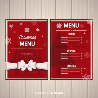Adorável modelo de menu de natal com design plano