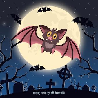 Adorável morcego halloween com design plano