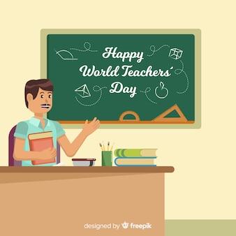 Adorável mundo professores dia composição com design plano