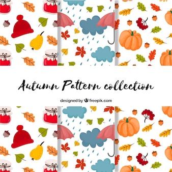 Adorável outono padrão coleção com ilustrações