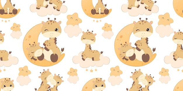 Adorável padrão de girafa para papel de parede de tecido infantil e muito mais