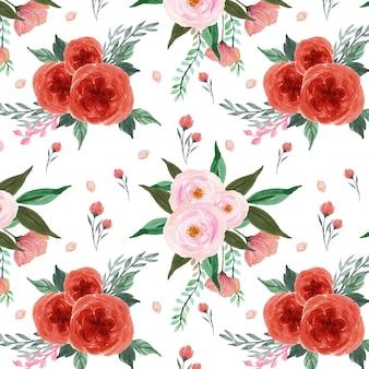 Adorável padrão floral vermelho e rosa sem costura