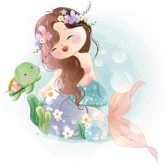 Adorável pequena sereia com uma tartaruga bebê