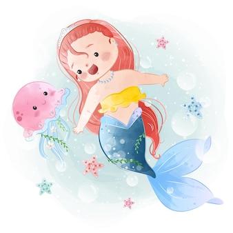 Adorável pequena sereia nadando com uma água-viva