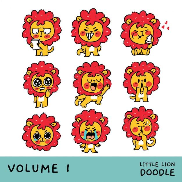 Adorável pequeno leão filhote personagem mascote conjunto