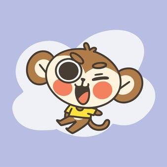 Adorável pequeno macaco mascote doodle ilustração