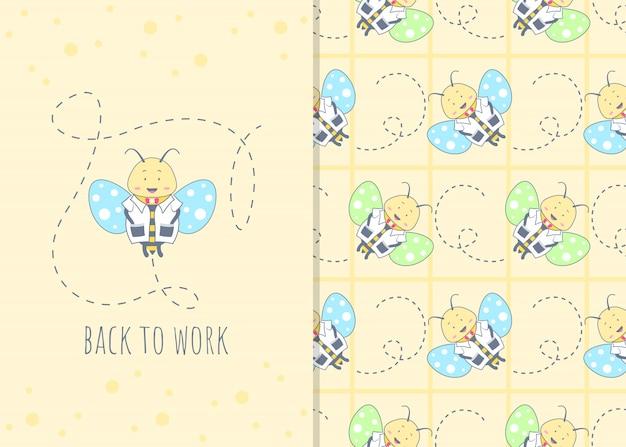 Adorável personagem de desenho animado de abelha, padrão sem emenda e ilustração