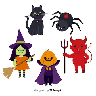 Adorável personagem de halloween collectio