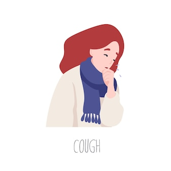 Adorável personagem feminina tossindo. sintoma de gripe, problema de saúde, doença infecciosa viral. mulher jovem doente ou doente isolada no fundo branco. ilustração em vetor colorido plana dos desenhos animados.