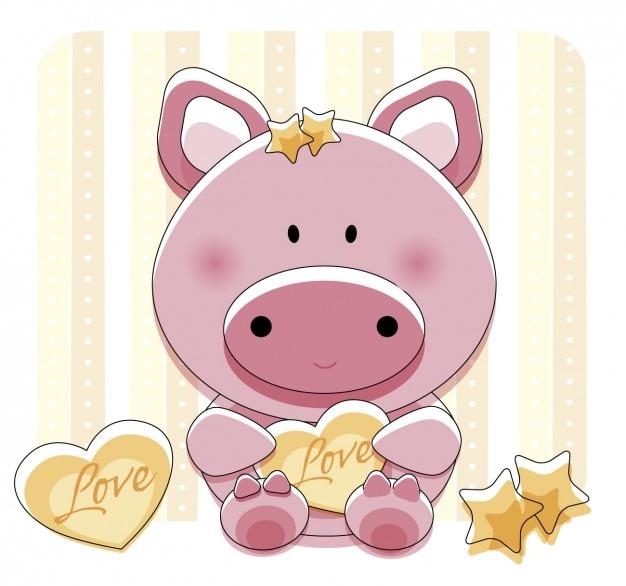 Adorável piggy com coração