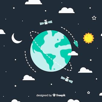 Adorável planeta terra com design plano