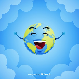 Adorável planeta terra com estilo cartoon