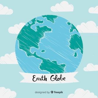 Adorável planeta terra com estilo desenhado de mão