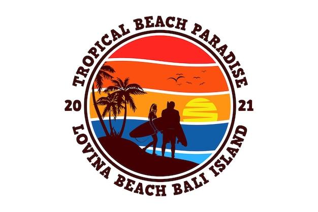Adorável praia da ilha de bali, design elegante em estilo retrô