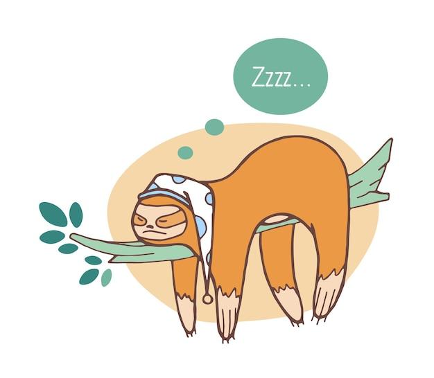Adorável preguiça dormindo no galho