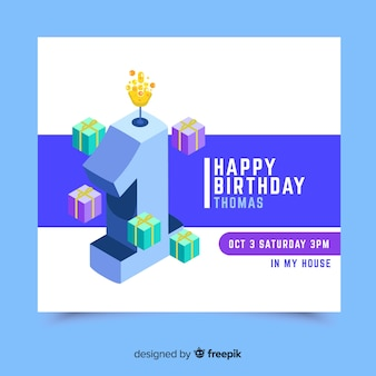 Adorável primeiro modelo de cartão de convite de aniversário