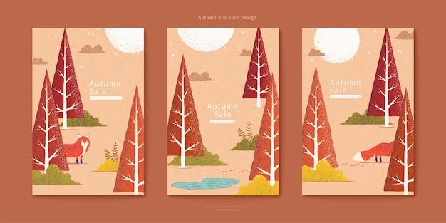 Adorável raposa vermelha em conjunto de ilustração de floresta de outono, árvores triangulares em cor laranja