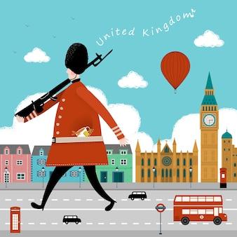 Adorável reino unido impressão de viagens design guarda e cena de rua