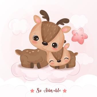 Adorável rena mamãe e rena bebê em ilustração em aquarela