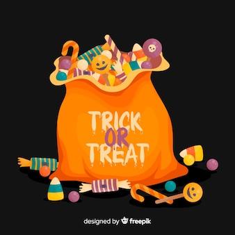 Adorável saco de doces de halloween com design plano