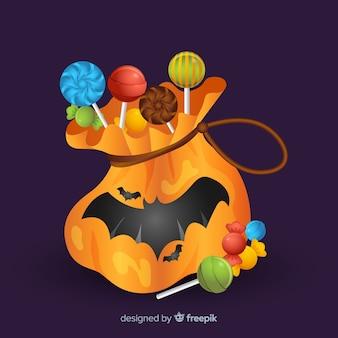 Adorável saco de doces de halloween com design realista