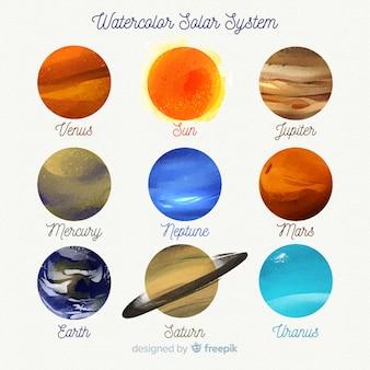 Adorável sistema solar em aquarela