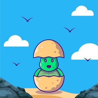 Adorável tartaruga verde bebê chocado de ovo ilustração dos desenhos animados