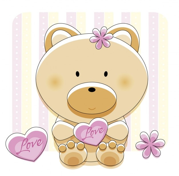 Adorável urso com amor do coração