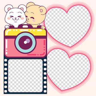 Adorável ursos photoframes e câmera bonito