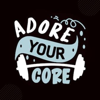 Adore o seu design de vetor de tipografia premium de fitness