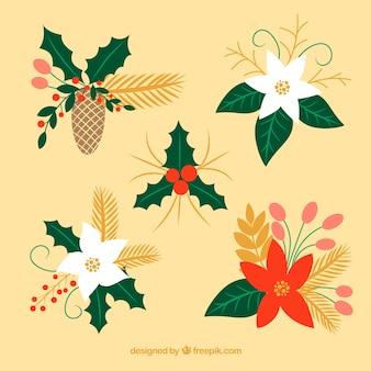 Adornos florais com flores decorativas