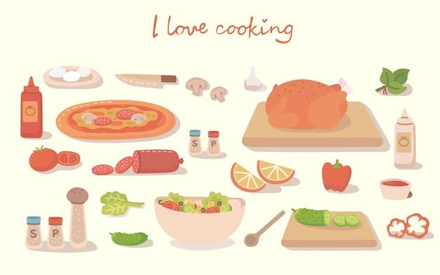 Adoro armar uma pizza saborosa, um bolo, um sushi e uma salada com utensílios de cozinha, ingredientes. ilustração em estilo apartamento moderno
