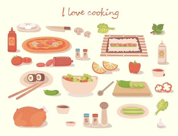 Adoro armar uma pizza saborosa, um bolo, um sushi e uma salada com utensílios de cozinha, ingredientes. ilustração.