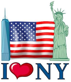 Adoro bandeira de nova york com bandeira americana e edifícios