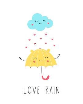 Adoro chuva, lindo guarda-chuva amarelo sorri com a nuvem.