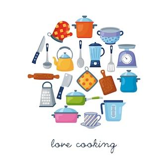 Adoro cozinhar texto com composição de suprimentos de cozinha