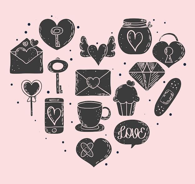 Adoro doodles em forma de coração