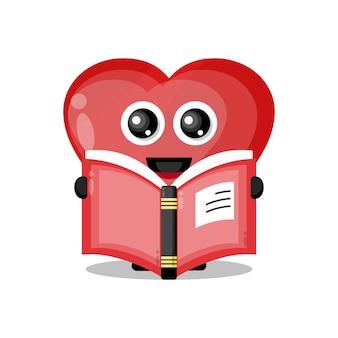 Adoro ler livro mascote de personagem fofo