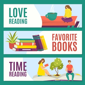 Adoro ler os livros favoritos, ler a hora, definir o conceito, ilustração vetorial. caráter de pessoas homem mulher lido, descansando com uma pilha de livros.