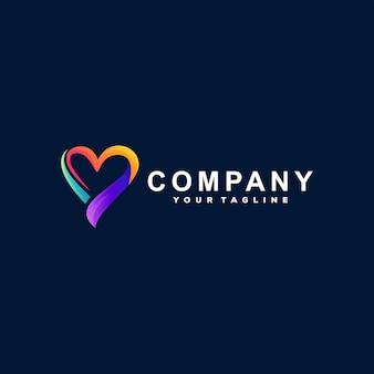 Adoro o design do logotipo de gradiente de cor Vetor Premium