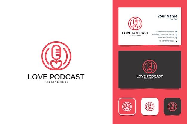 Adoro podcast com design de logotipo de estilo de arte de linha e cartão de visita