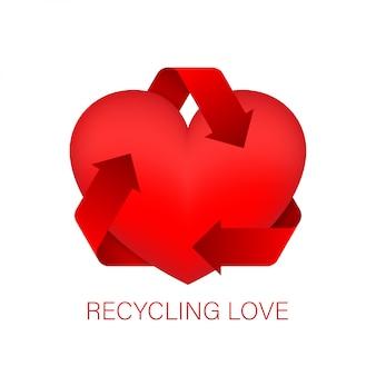 Adoro reciclar para o conceito de design. recarregar o sinal. forma de círculo. ícone de coração, vetor de ícone de amor. ilustração das ações.