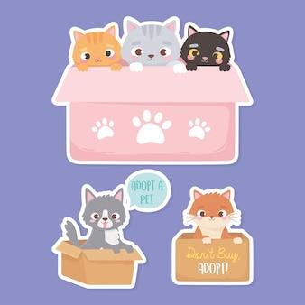 Adote um animal de estimação, adesivos de gatos e cachorros na ilustração das caixas de papelão